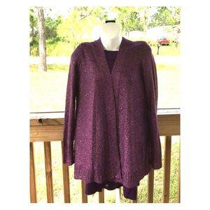 White Stag Purple Metallic Cardigan Sweater(12-14)